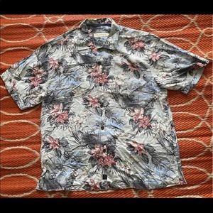 Tommy Bahama Floral Silk Hawaiian Shirt L Short